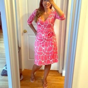 Stretchy Faux Wrap Coral Dress